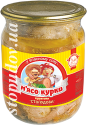 Canned stewed chicken meat, jar