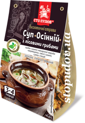 Autumn soup with forest mushrooms